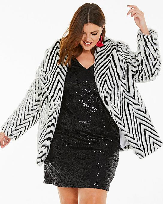 Fall's Bold Hued and Non Black Plus Size Coats to rock- Mono Print Fur Coat