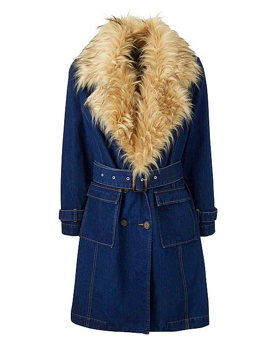 Fur Collar Denim Trench Coat