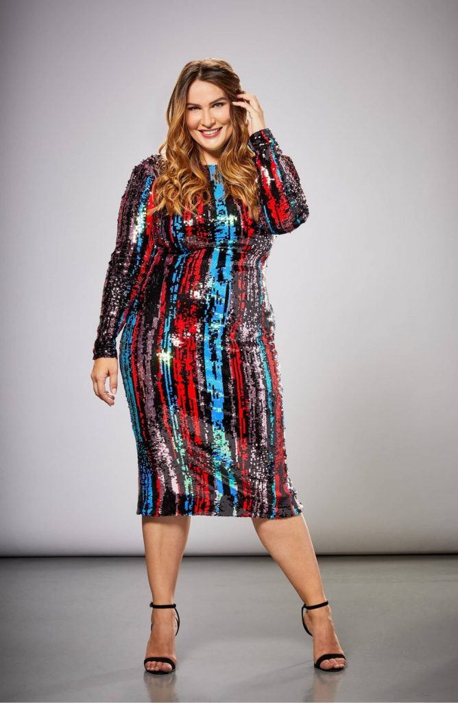 Dress the Population in Plus Sizes- Emery Sequin Body-Con Dress