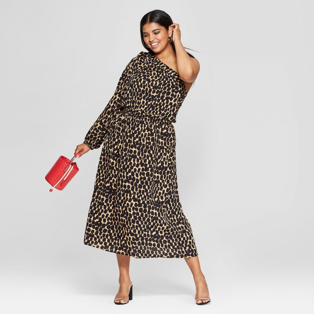 Love a Plus Size Leopard Print, then Check These Out- Leopard Print Long Sleeve One Shoulder Midi Dress