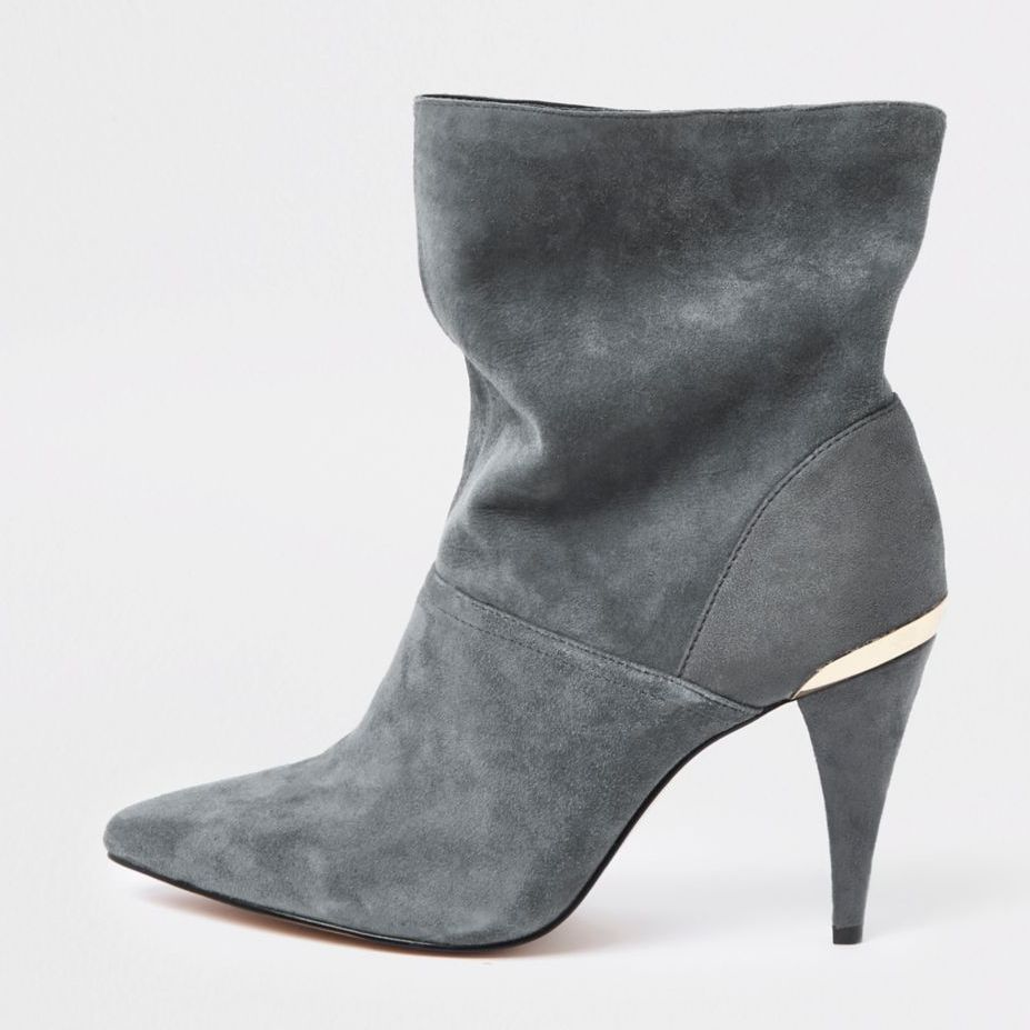 13 Must Rock Wide Width booties for the Fall- Grey wide fit suede slouch cone heel boots