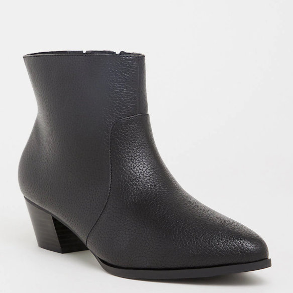 13 Must Rock Wide Width booties for the Fall- Black Faux Leather Pointed Wide Width Bootie