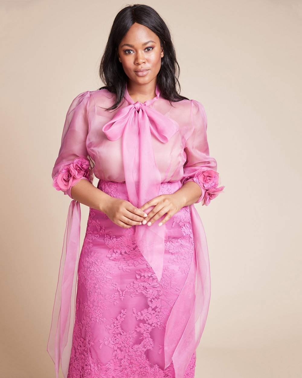 Luxury Plus SIze Fashion Finds at 11 Honore: MARCHESA Silk Organza Plus Size Blouse
