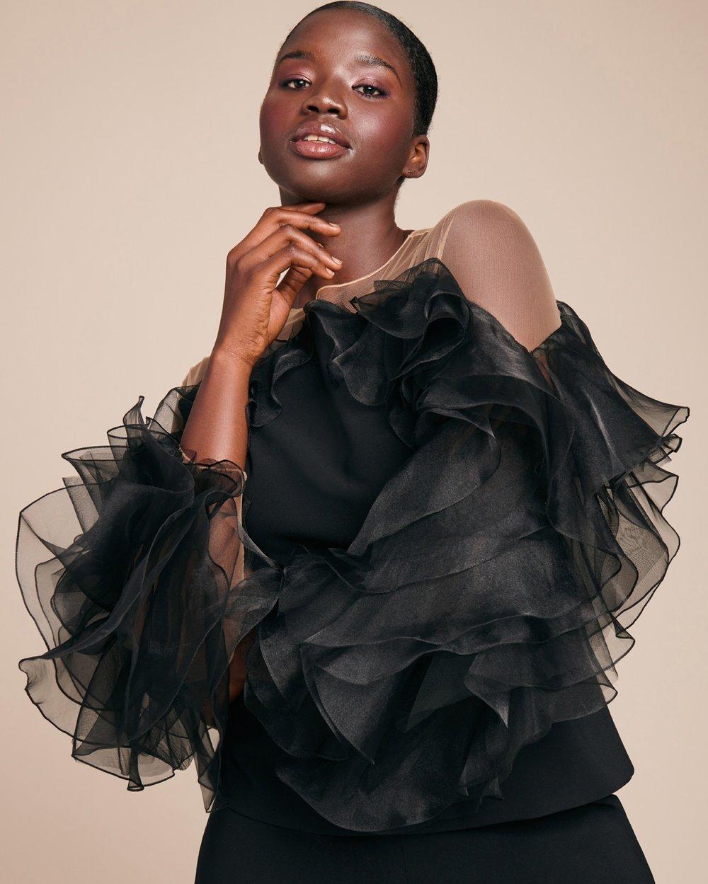 Luxury Plus SIze Fashion Finds at 11 Honore: MARCHESA Illusion Yoke Crepe Plus Size Top