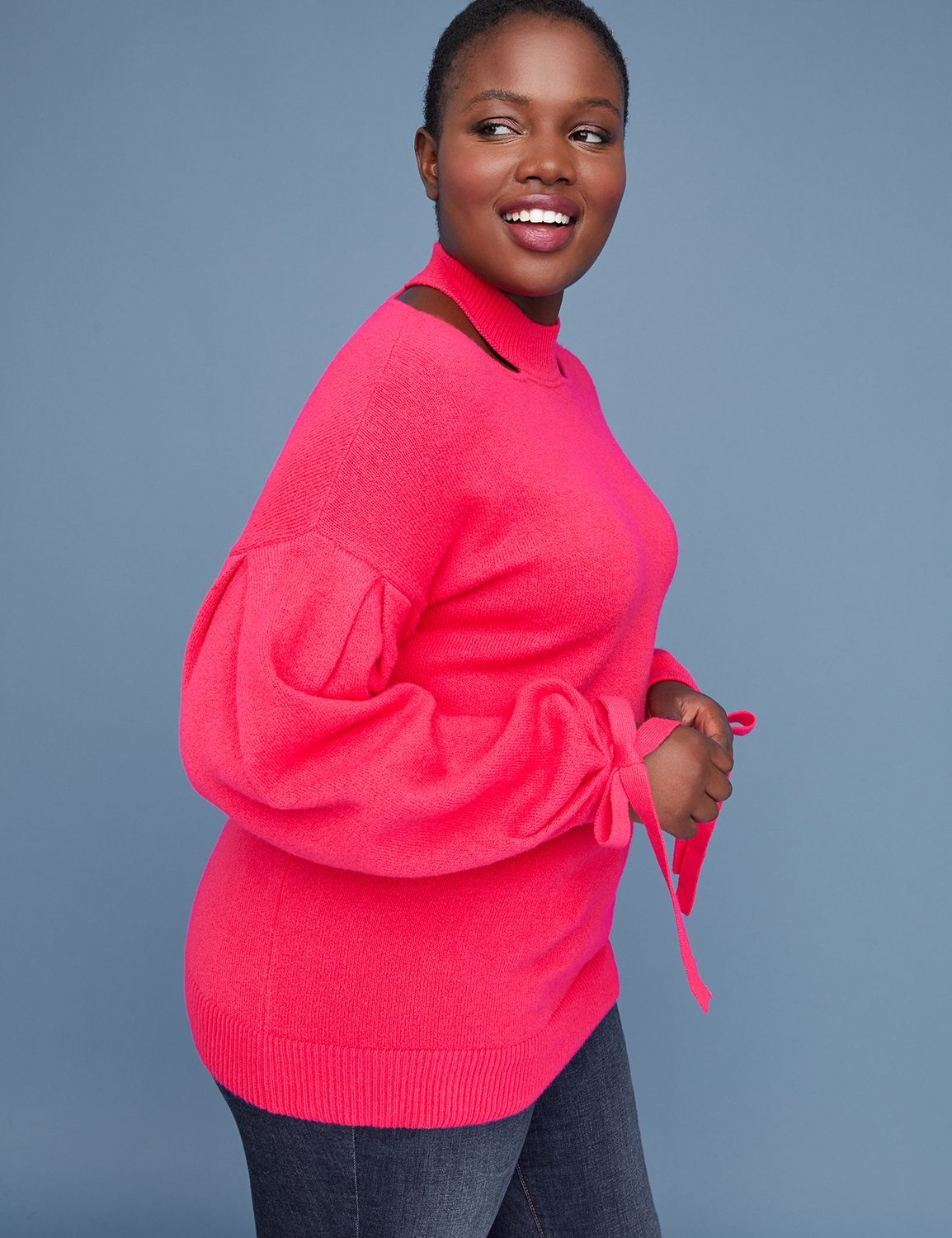 Lane Bryant Plus Size Cold Weather Fashion Finds- Cutout Mock-Neck Sweater With Tie Cuffs