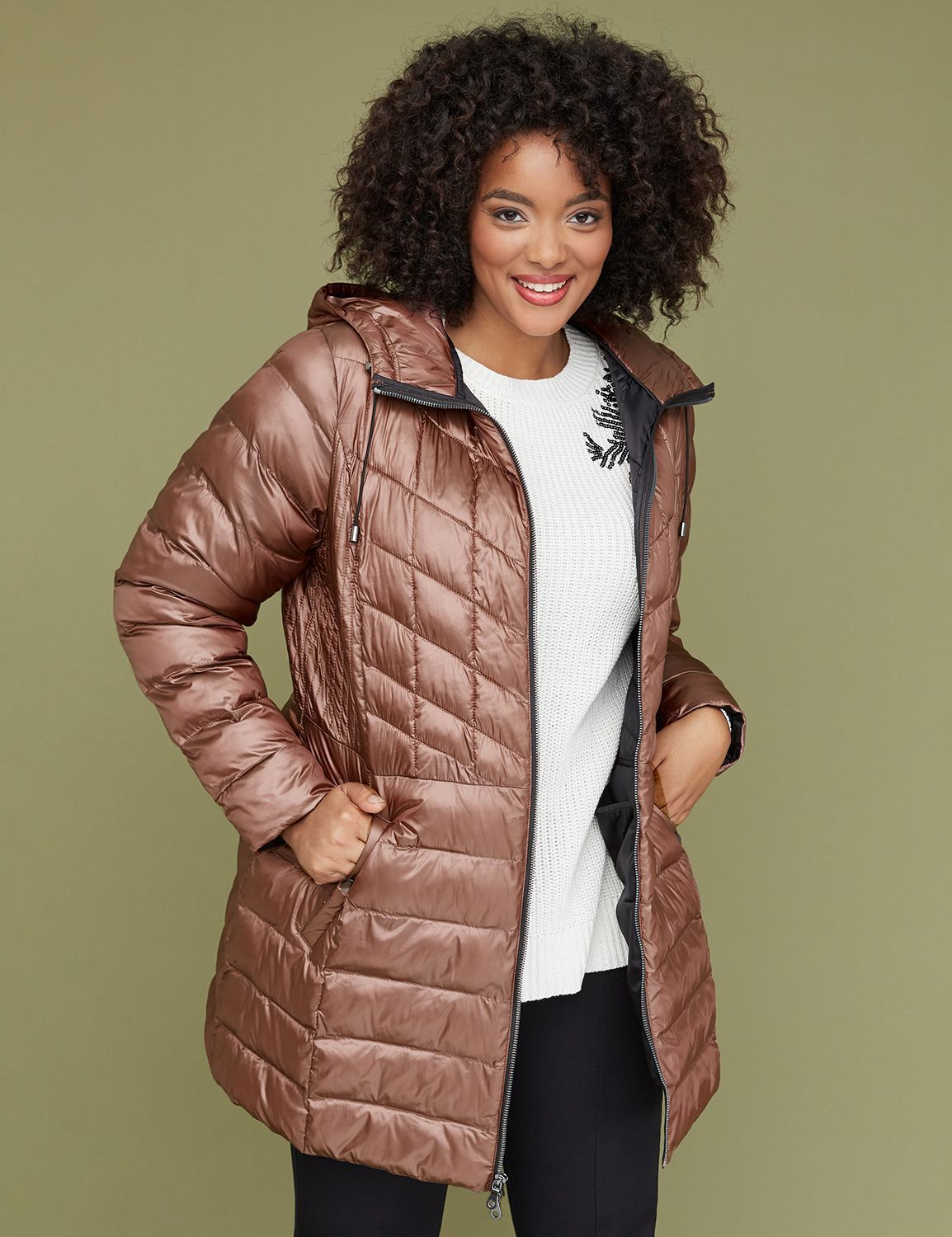 Lane Bryant Plus Size Cold Weather Fashion Finds-Midi Packable Puffer Jacket With Thermoplume Technology