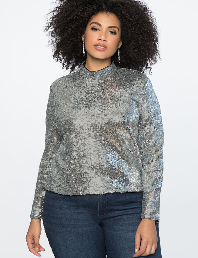 The Best Plus Size Sequins Finds for New Yea's Eve: Cropped Sequin Turtleneck
