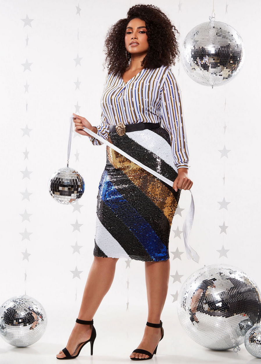 The Best Plus Size Sequins Finds for New Yea's Eve: Sequin Bias Stripe Midi Skirt