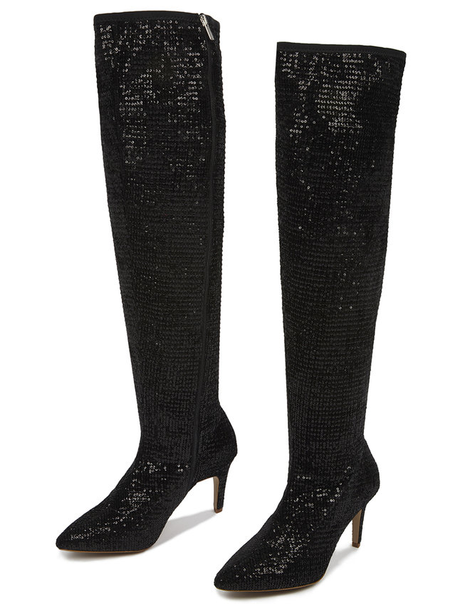 The Best Plus Size Sequins Finds for New Yea's Eve: Sequin Amelia Over The Knee Boot