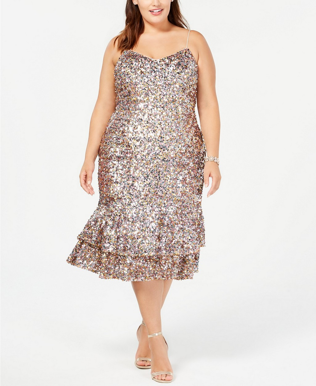 The Best Plus Size Sequins Finds for New Yea's Eve: Plus Size Multicolored Sequin Midi Dress by Adrianna Papell