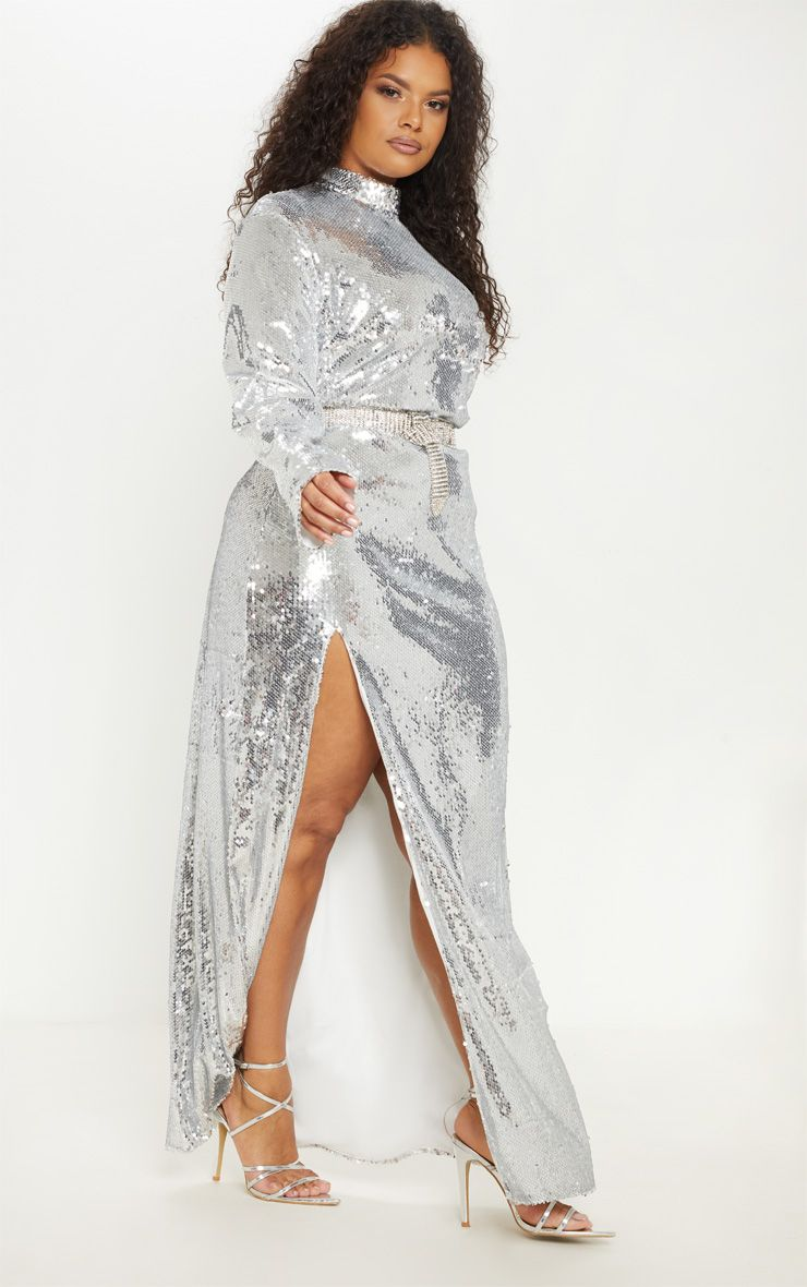 The Best Plus Size Sequins Finds for New Yea's Eve: Plus Silver Sequin Backless Maxi Dress