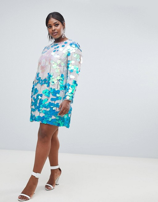 The Best Plus Size Sequins Finds for New Yea's Eve: Disc sequin shift dress by ASOS EDITION Curve