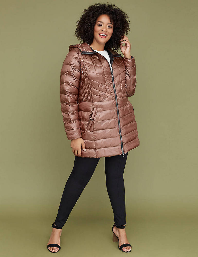 25 Must Rock Plus Size Puffer Coats- Midi Packable Puffer Jacket With Thermoplume Technology in Peach