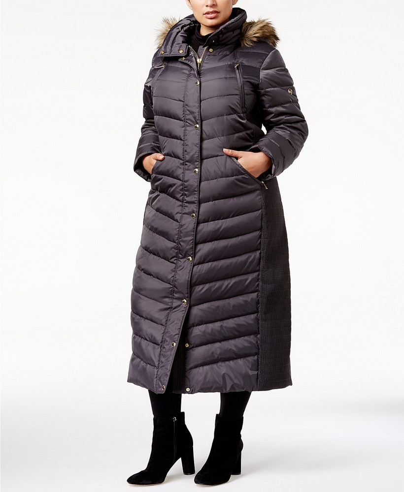 25 Must Rock Plus Size Puffer Coats- MICHAEL Michael Kors Plus Size Faux-Fur-Trim Hooded Maxi Coat