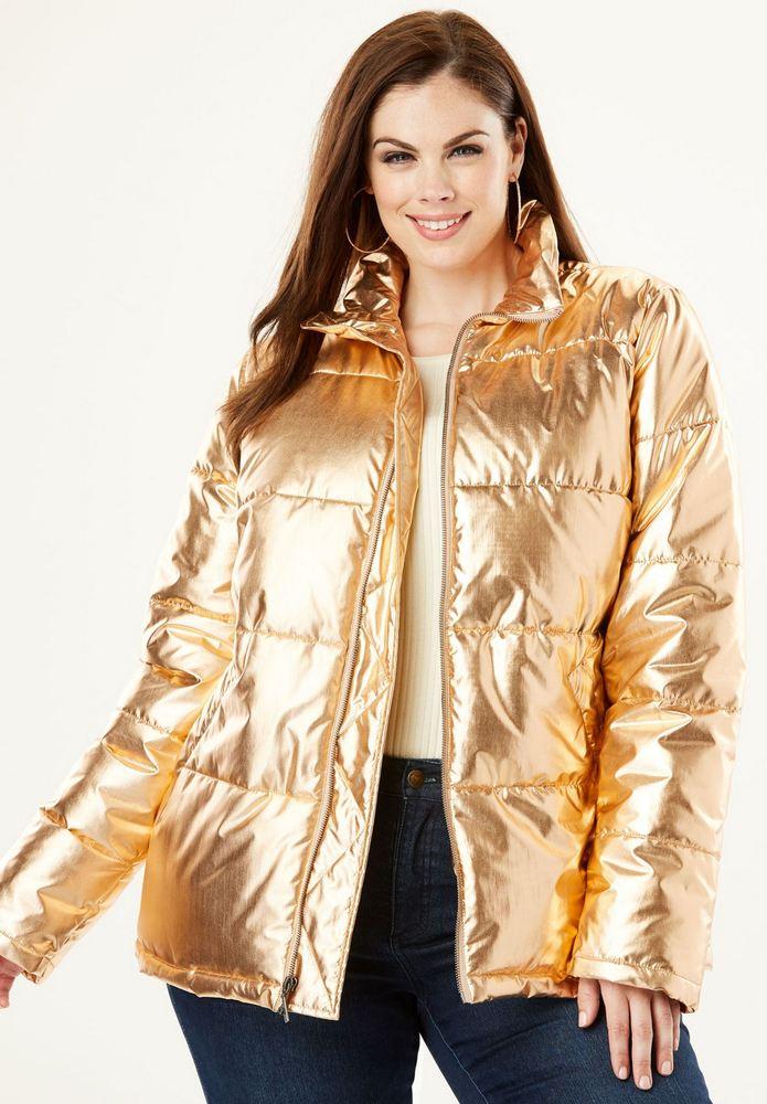 25 Must Rock Plus Size Puffer Coats- Metallic Ultimate Puffer Jacket