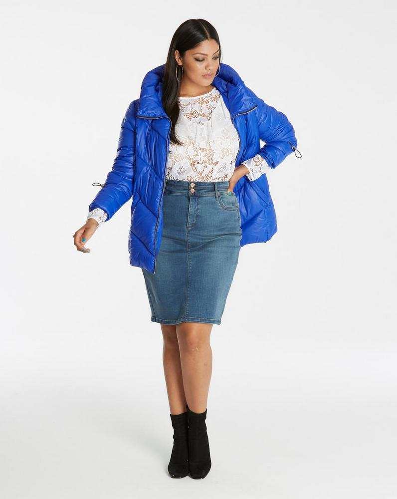 25 Must Rock Plus Size Puffer Coats- Cobalt Blue Padded Jacket