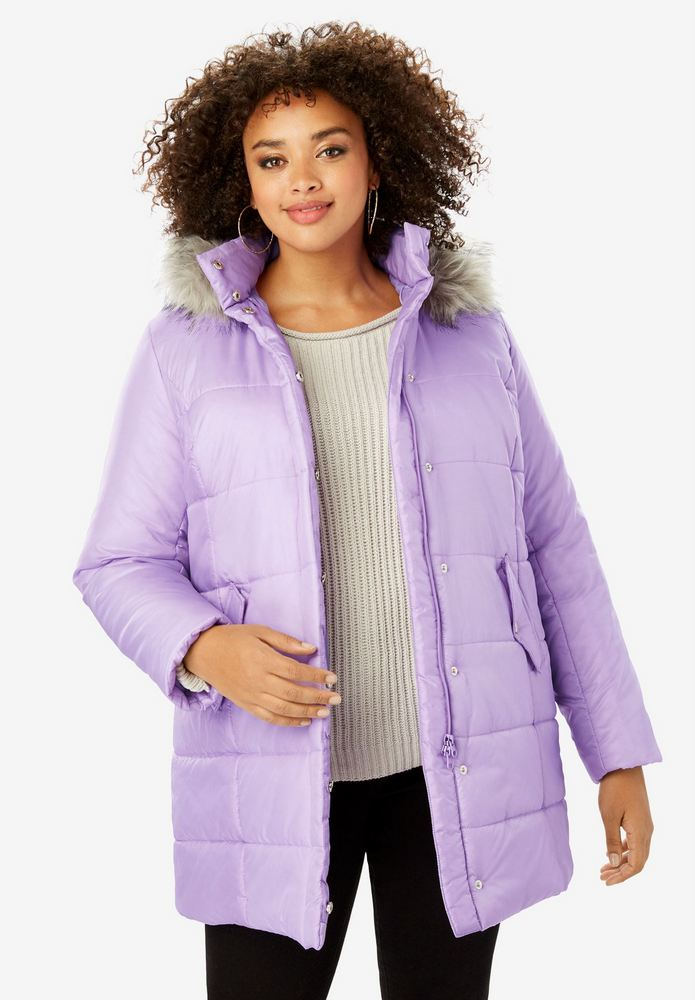 25 Must Rock Plus Size Puffer Coats- CLASSIC-LENGTH QUILTED PARKA WITH FAUX-FUR HOOD