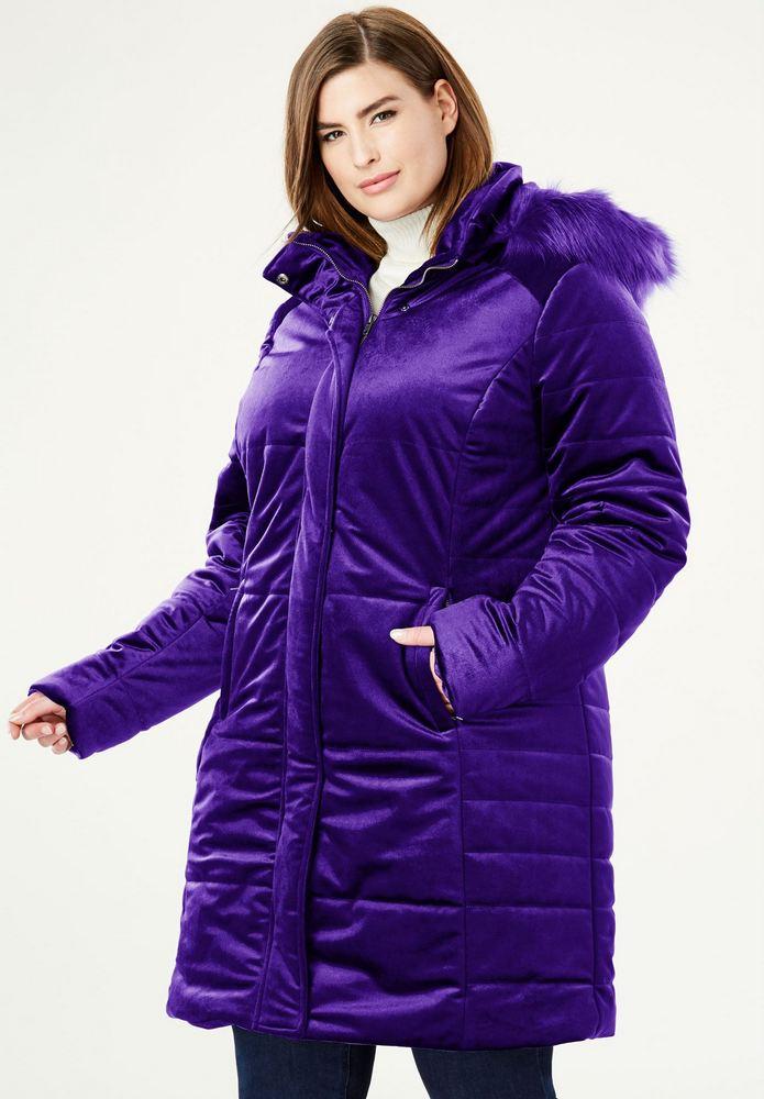 25 Must Rock Plus Size Puffer Coats- Velvet Puffer Coat