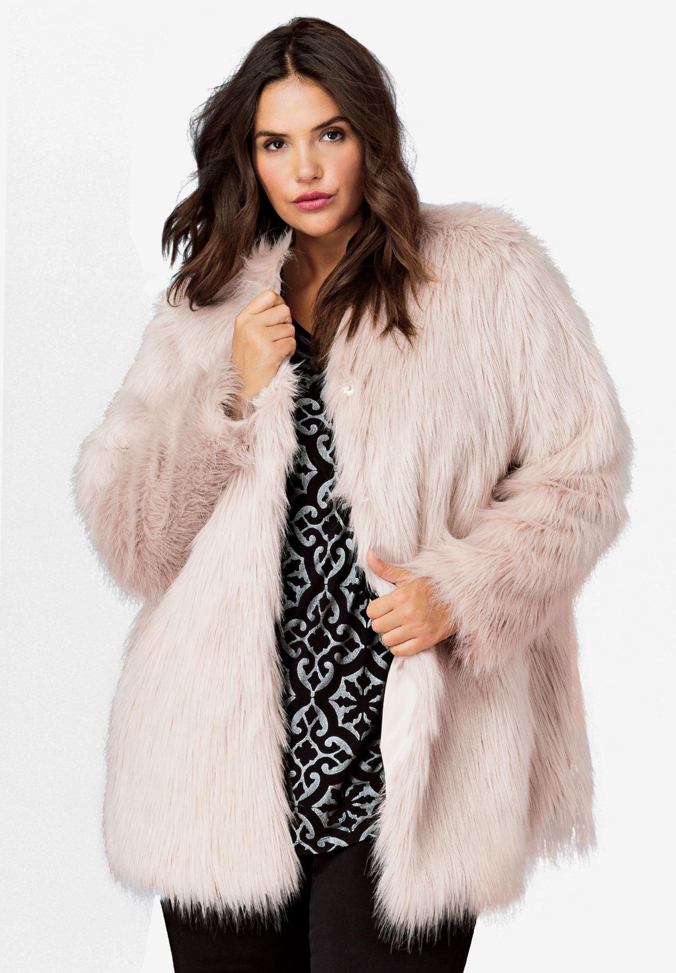 Faux Fur Snap Front Coat