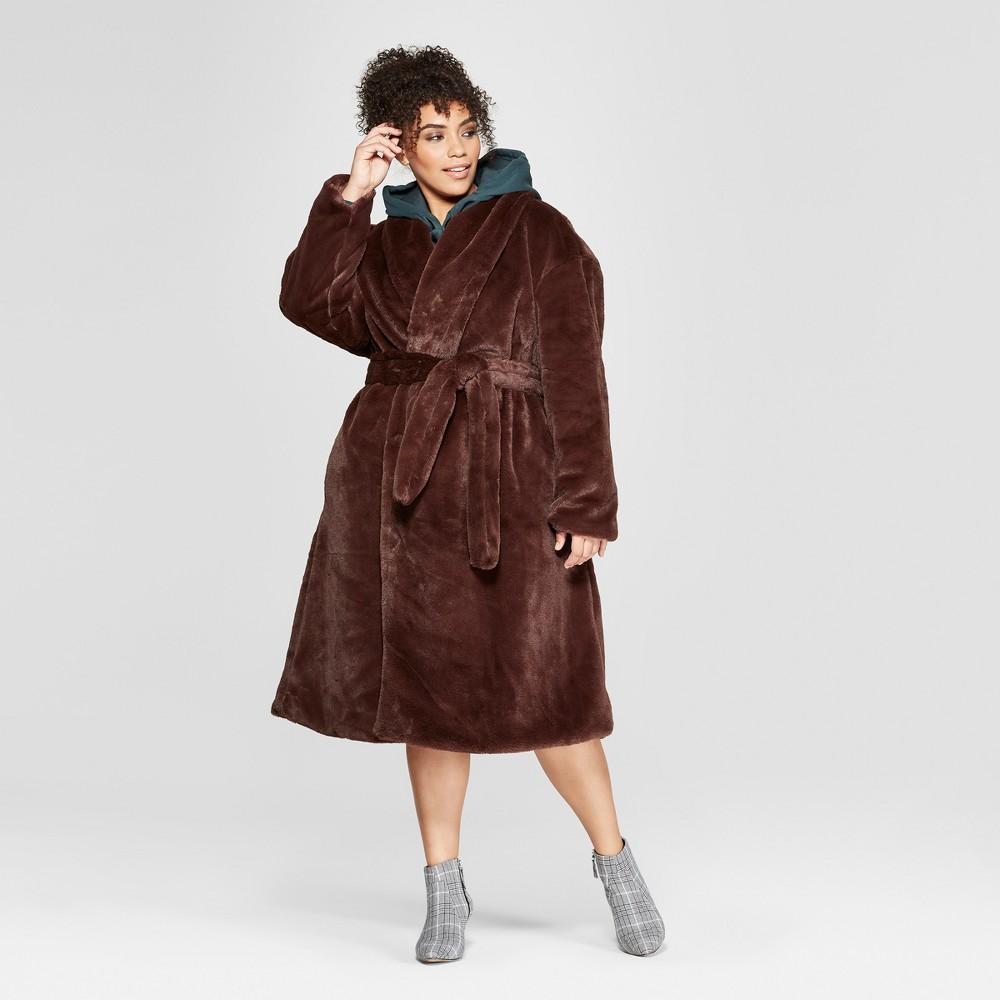 Plus Size Faux Mink Robe Coat