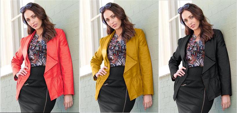 Jessica London WaterFall Plus Size Leather Jackets