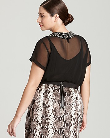 VINCE CAMUTO Plus Short Sleeve Jeweled Trim Peter Pan Blouse