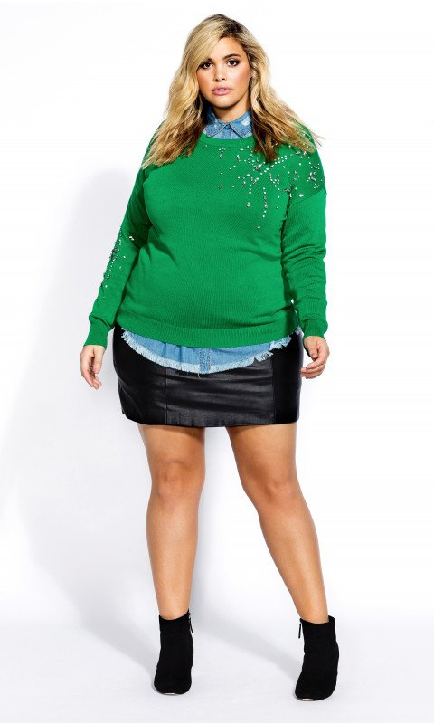 Plus SIze Sweaters: Embellished Green Sweater