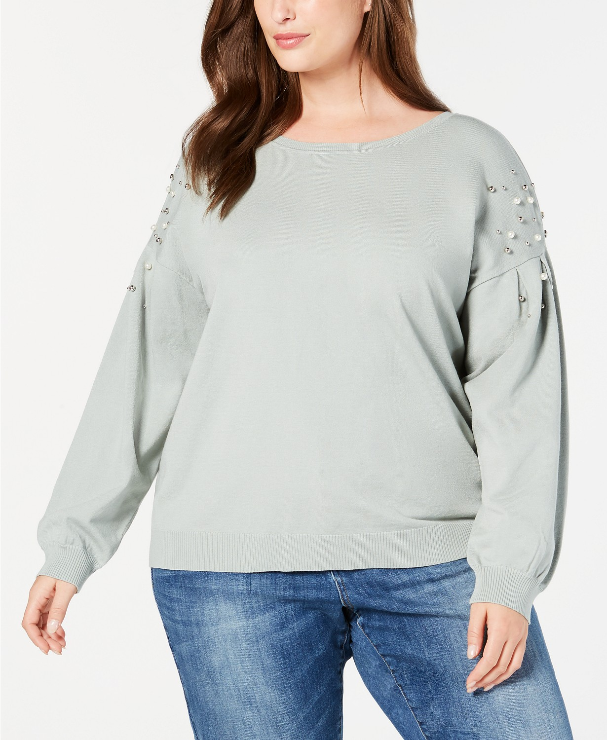 Plus size Sweaters: INC Plus Size Embellished Sweater up through a size 3X at Macys