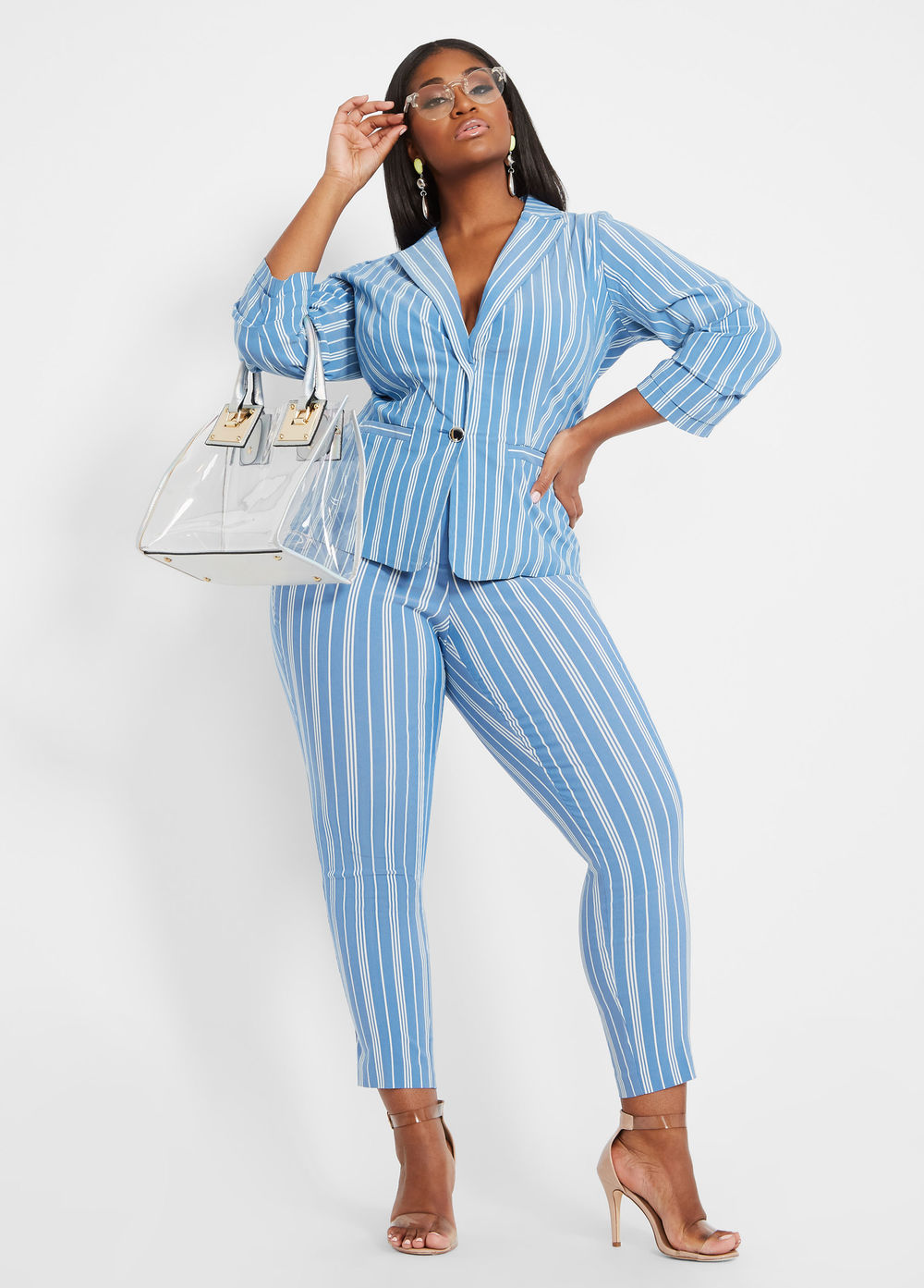 Striped Super Stretch Ankle Pant