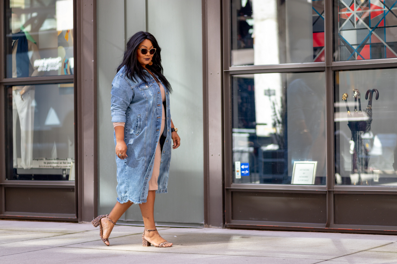 Plus size long denim jacket from Fashion to Figure