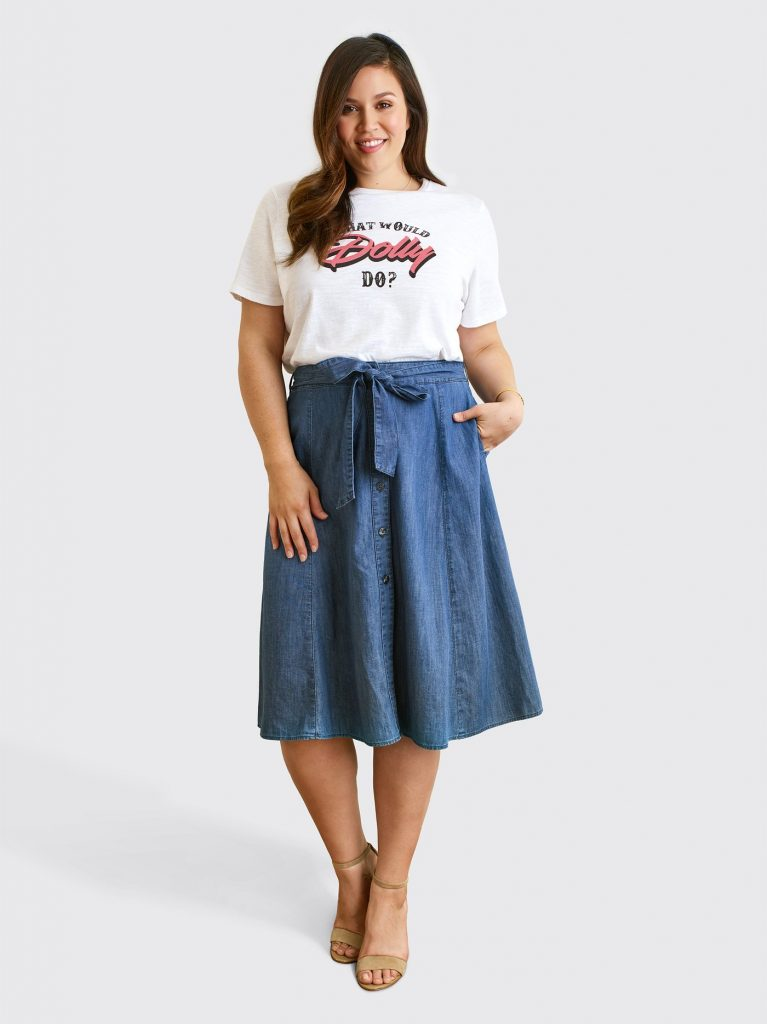Draper James Launches Plus Sizes- Button Front Chambray Skirt
