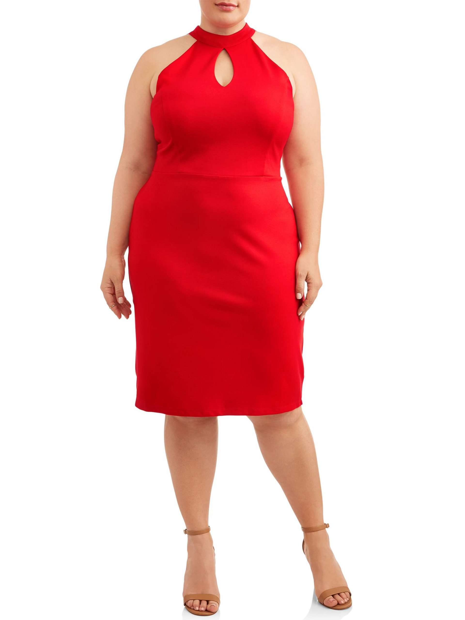Paperdoll Plus Size Racer Neck Dress with Keyhole