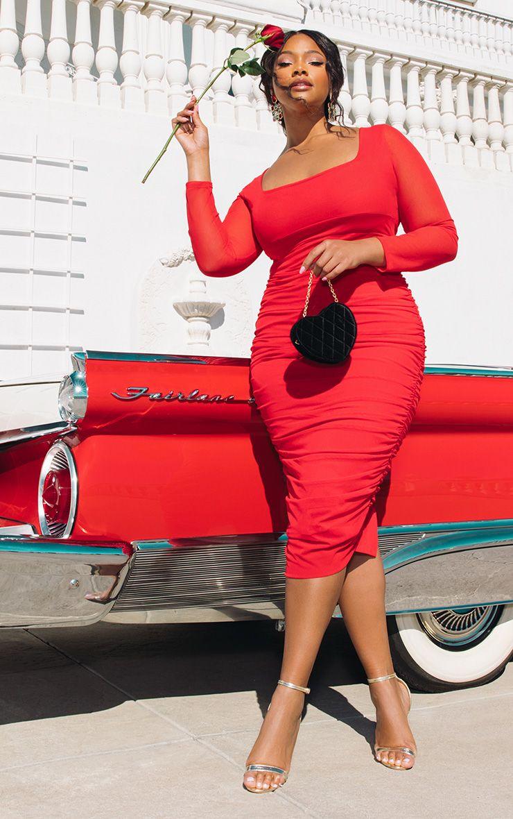 Plus Red Mesh Ruched Midi Dress