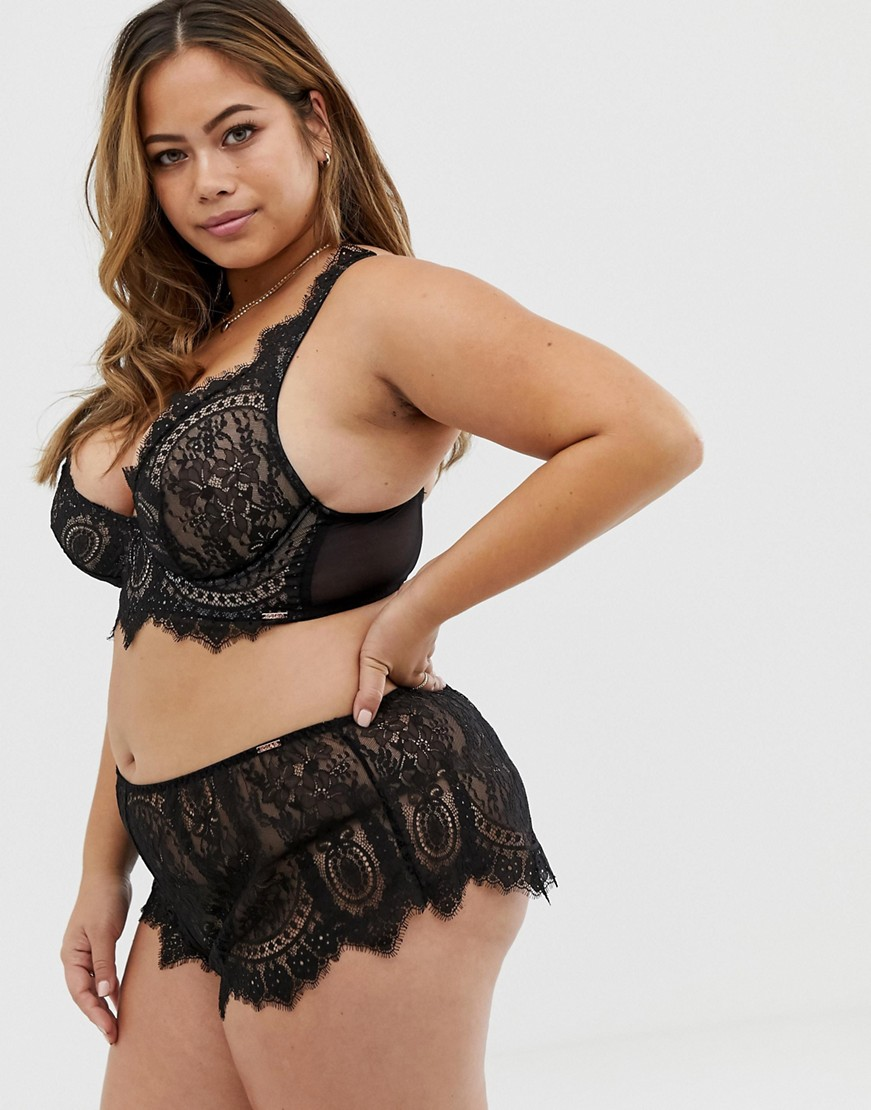 Figleaves Curve Adore lace knicker in black