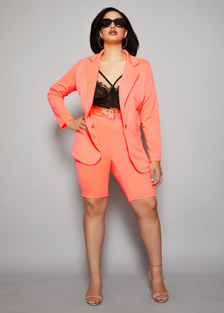 The Neon Kela Blazer Jacket at AshleyStewart- Spring plus size favorites from Curvy Girl Collection by Ashley Stewart