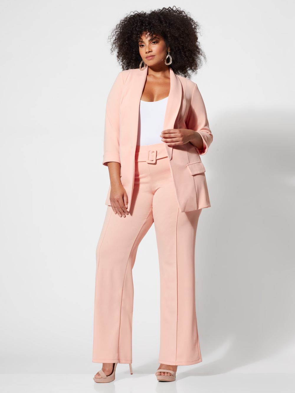 Spring Plus Size Suiting- Olivia Coral Long Blazer and Flare Ponte Trousers