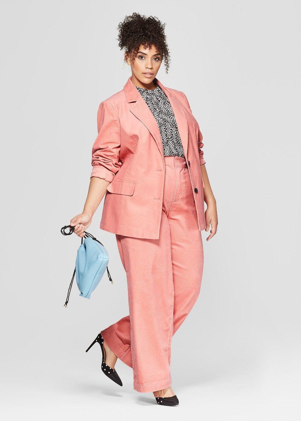 Spring Plus Size Suiting- Who What Wear Plus Size Corduroy Blazer & Wide Leg pants
