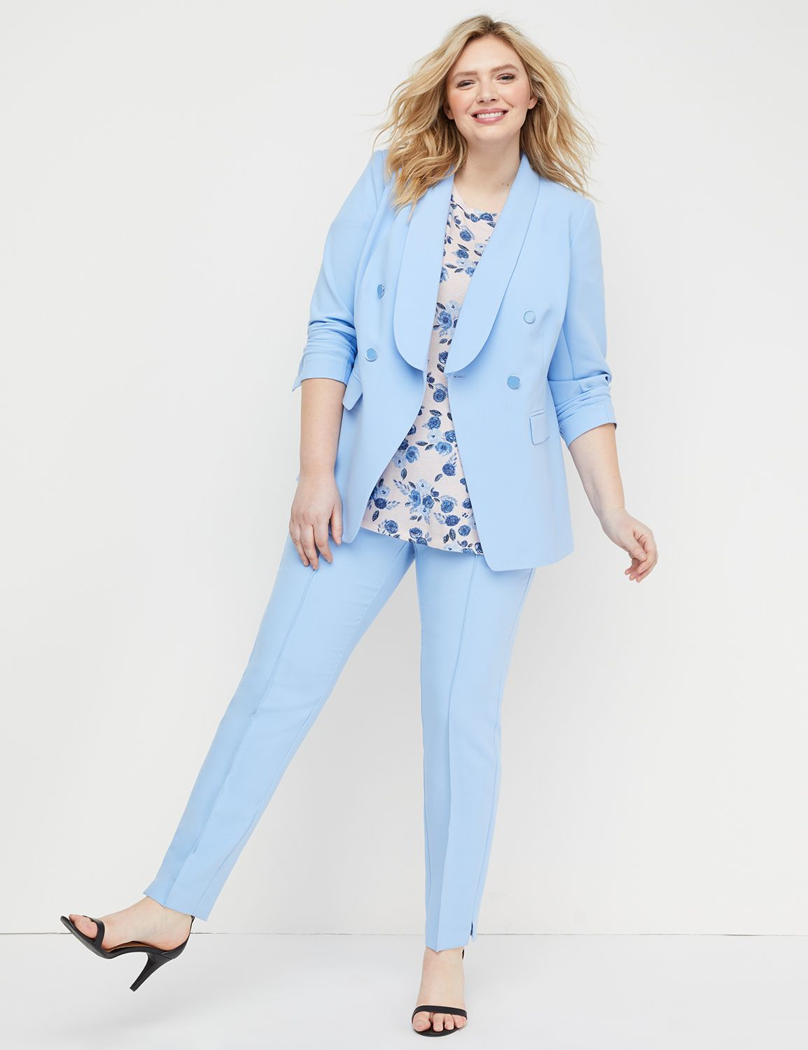 Plus Size Suits for Spring- Double Breasted Modern Stretch Suit