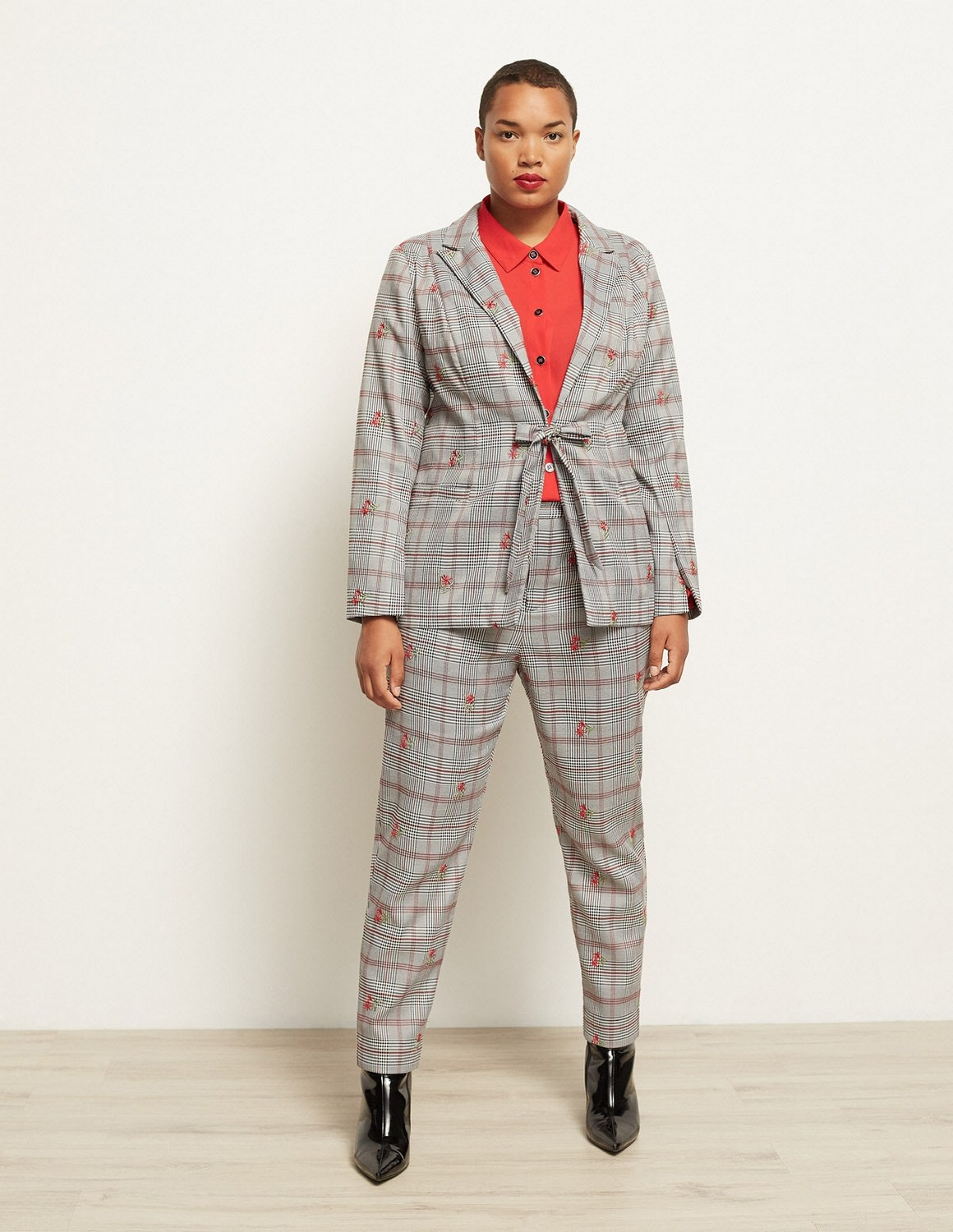 Plus Size Suiting for Spring- Manon Baptiste Embroidered Check Blazer & Trousers