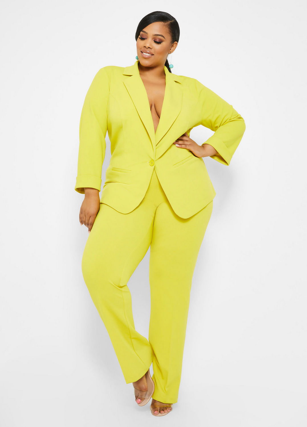 Spring Plus Size Suiting- Tall Single Button Blazer and Straight Leg Pant