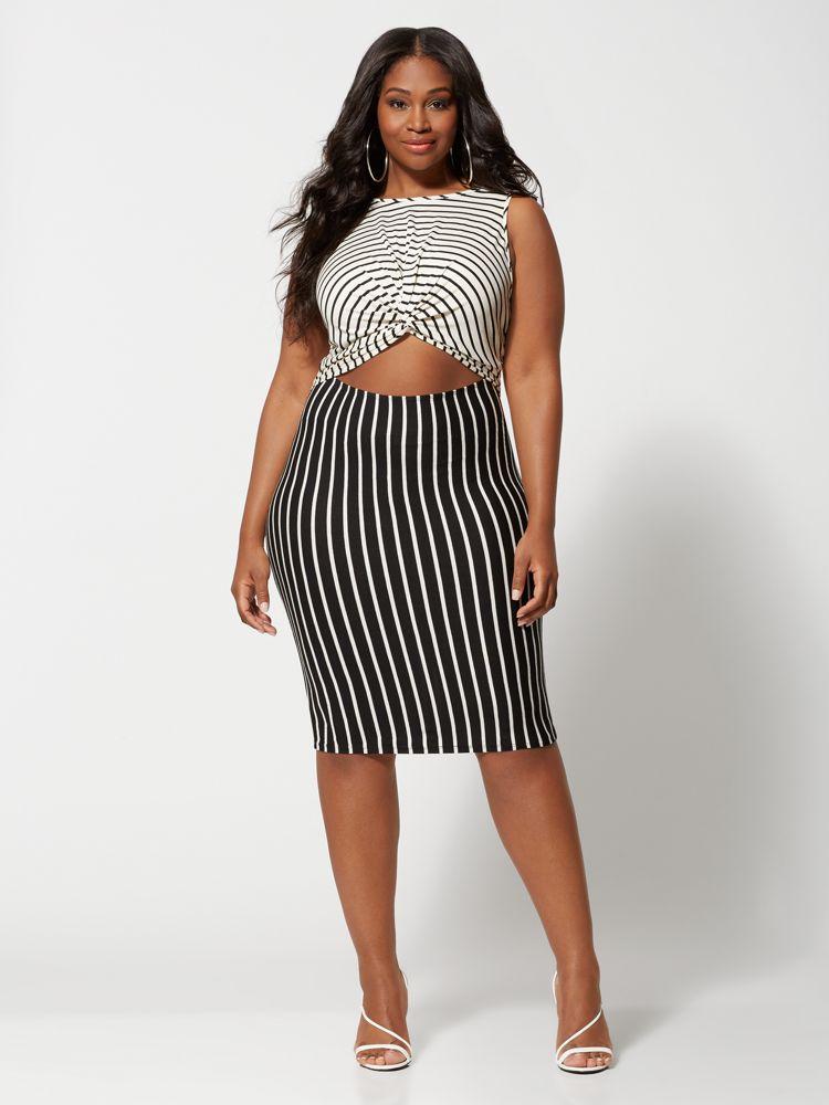 Eloise Cut-Out Stripe Plus Size Bodycon Dress at Fashion to Figure