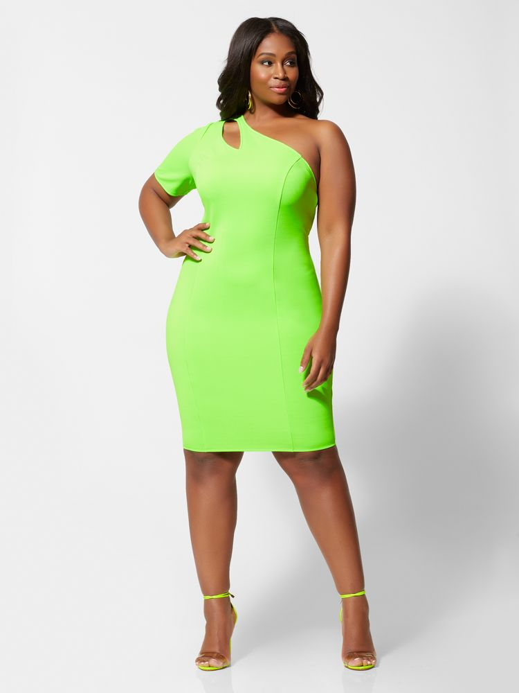 Ember Neon Green Plus Size Bodycon Dress at Fashion to Figure