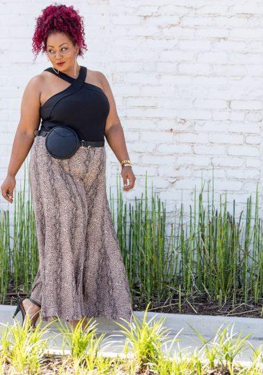 Anthropologie Plus Sizes Wide Leg Snakeprint pants- The Curvy Fashionista