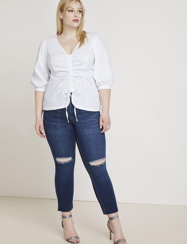 eloquii semi annual clearance- Distressed Knee-Slit Skinny Ankle Jean