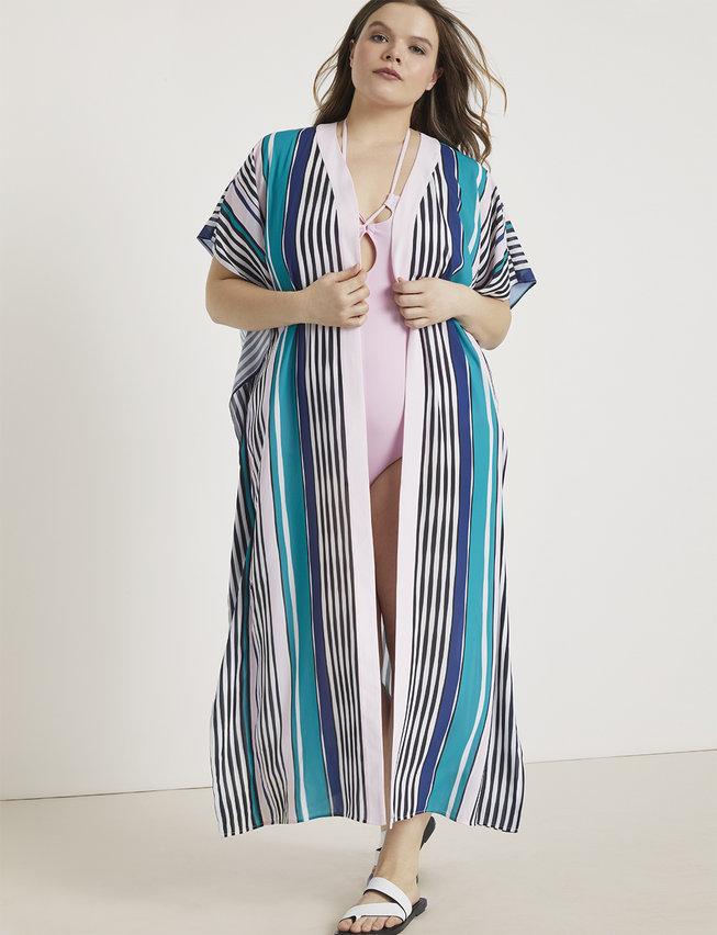 eloquii semi annual clearance- Printed Maxi Kimono Coverup at ELoquii