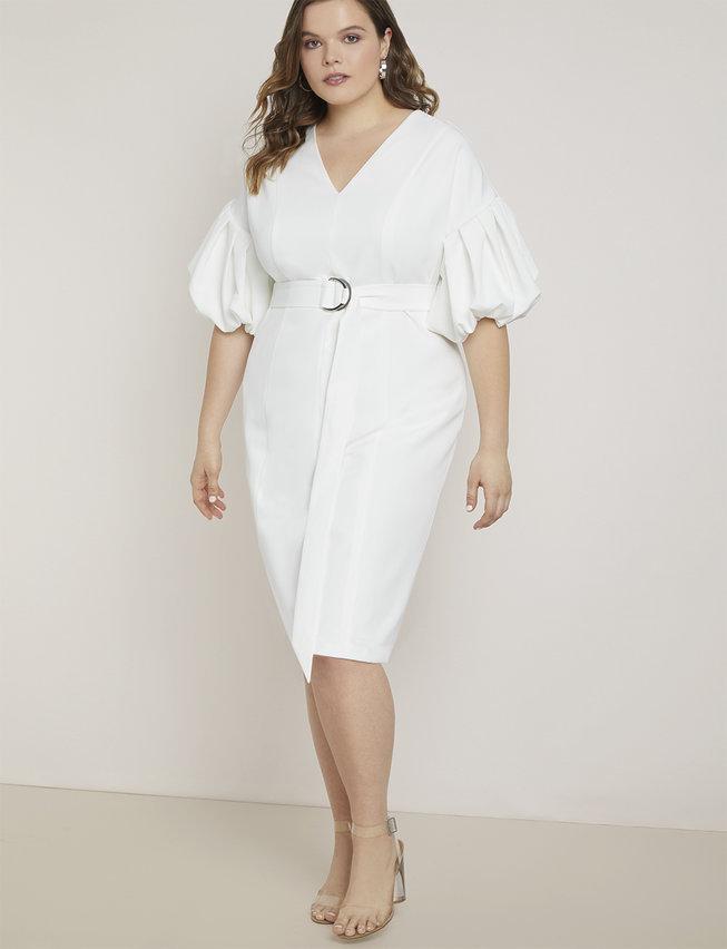 eloquii semi annual clearance- Puff Sleeve Sheath Dress