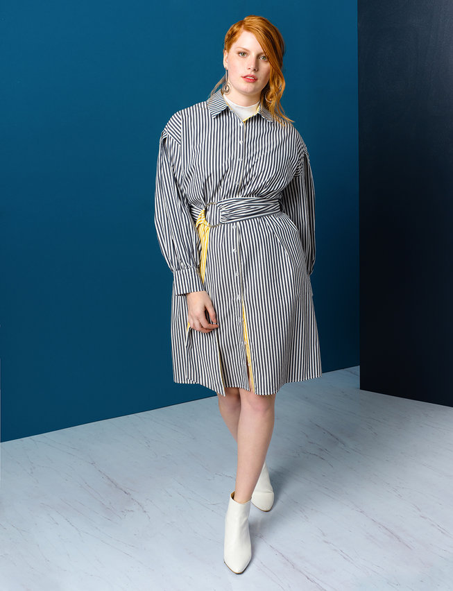 eloquii semi annual clearance- Belted Shirtdress with Contrast Stripe