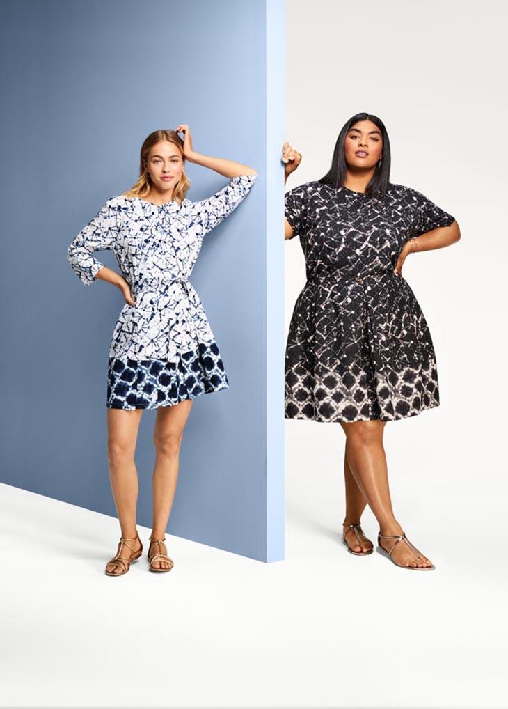 THAKOON Women's Plus Size Shibori Print Mid-Rise Button-Front A-Line Mini