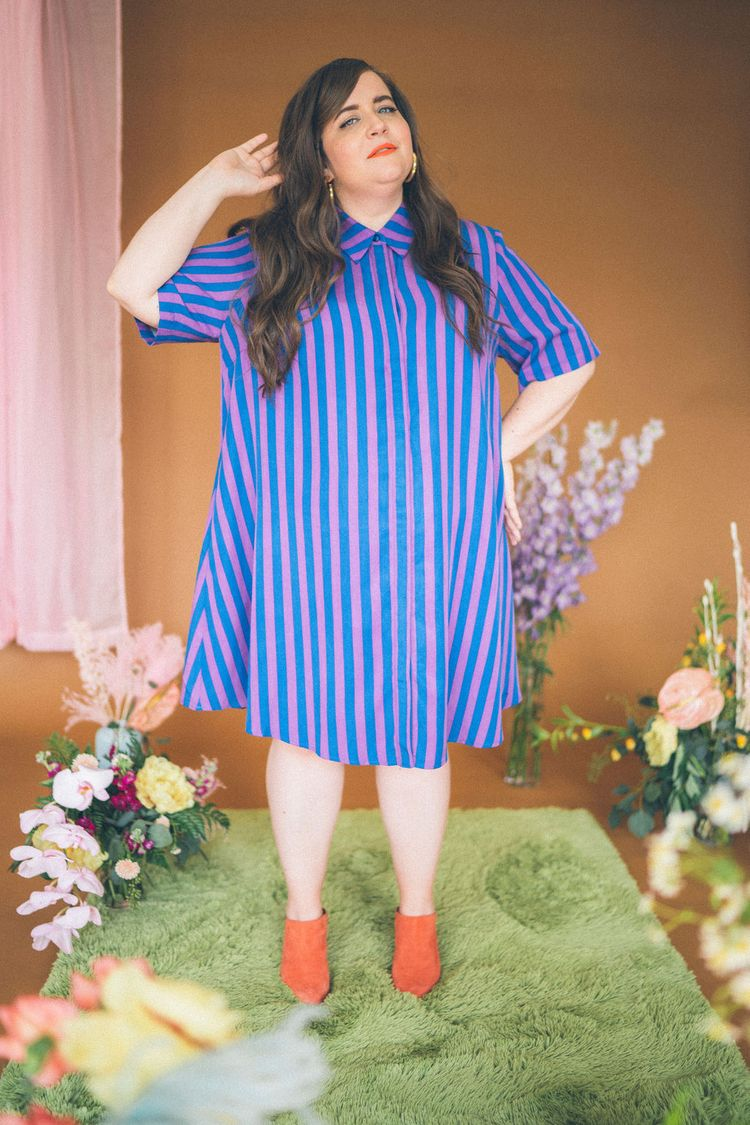 Aidy Bryant Pauline Collection- the lovington dress in stripe