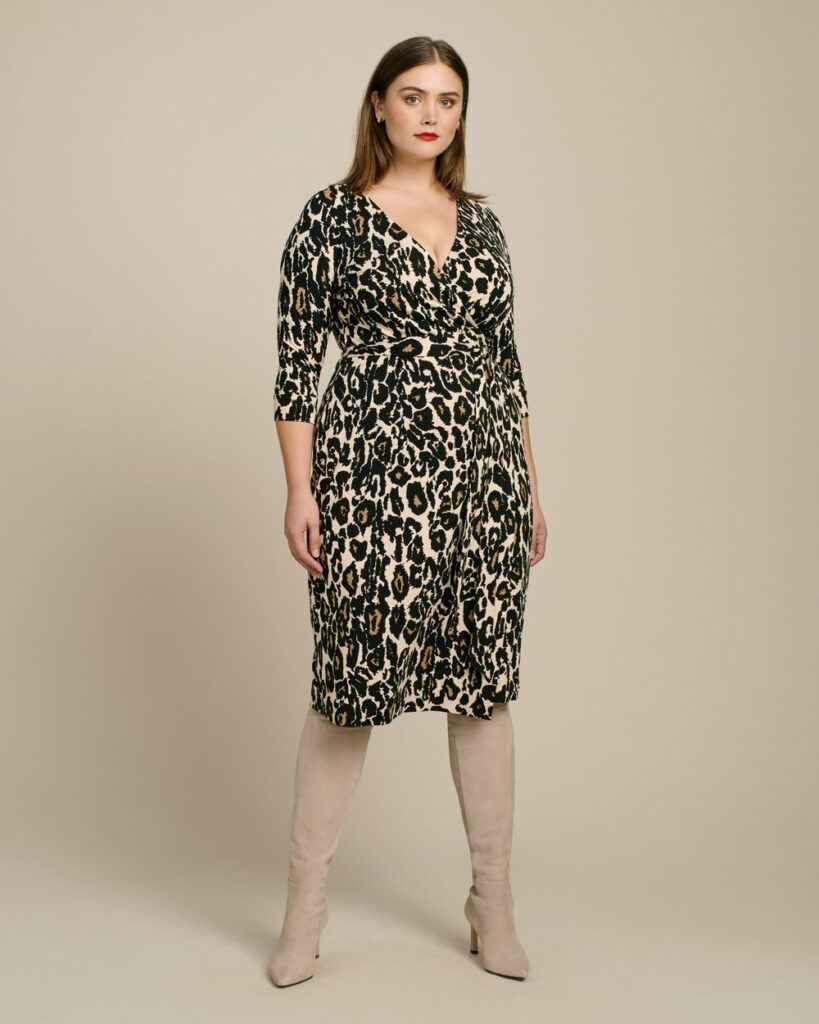 Julian Two Classic Wrap Dress by DVF in Plus Sizes at 11 Honore- Leopard